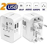 Adaptateur universel prise usb pour un meilleur voyage MAXAH Adaptateur universel de voyage avec 2 ports USB Tout en un...