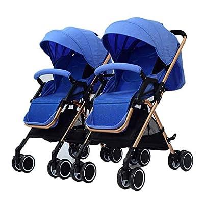 MRXUE Twin bebé Cochecito portátil Puede ser Plegado Plegable Desmontable Ultra Ligero Amortiguador de Choque Adecuado para 1-3 años de Edad