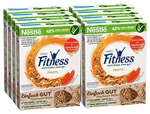 Nestlé Fitness Fruits, Frühstückscerealien mit Vollkorn und leckerem Frucht-Mix, 8er Pack (8 x 375 g)