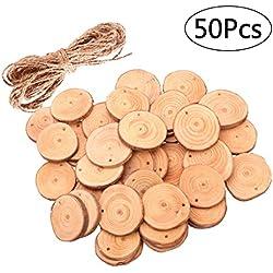 ROSENICE Madera rebanadas 4-5CM de madera troncos de troncos discos con 10 m de cuerda de yute para artesanía de bricolaje 50 piezas