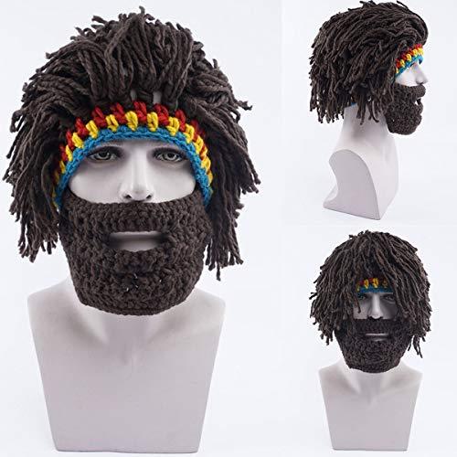 (Lustige Kooky Perücke Bart Rasta Beanie Caveman Knit häkeln Gorro Herren Kostüm Beanie Cap Hut)