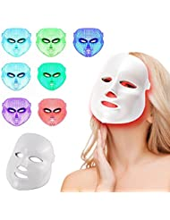 [2017 meilleur vendeur] Buydaly LED Photon Therapy 7 couleurs traitement de la lumière du visage Beauté soins de la peau rajeunissement de la photothérapie masque beauté visage soins anti-âge masque de beauté réel masques de soins de la peau appareil quotidien soins de la peau pour la maison (blanc)