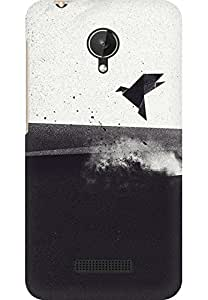 AMEZ designer printed 3d premium high quality back case cover for Micromax Canvas Spark Q380 (paper bird)