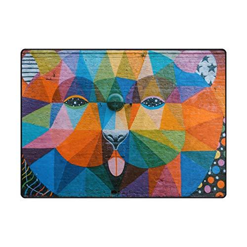DEZIRO Tapis de Sol antidérapant pour Chien Motif Graffiti coloré, Polyester, 1, 80 x 58 inch