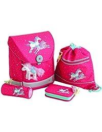 Die Spiegelburg, set di accessori per la scuola, 4pezzi, cartella, Ergo Style Fun, con graziosi unicorni