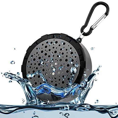 Altavoces Bluetooth portátil impermeable SoundPEATS 004 Altavoz de Ducha estéreo con Mic y Batería Recargable Compatible con dispositivos Bluetooth para Baño, Playa (Negro)