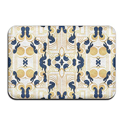 Non-Slip Bath Mat, Bathroom Rug Mat, Deco Gatsby Panthers White Navy and Gold Fabric (4774) Senior Design Area Rugs for Living Room(15.7X23.6 inch/40X60cm)
