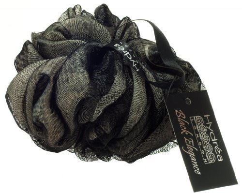 Large Bath Puff Exfoliating Black and Cream Scrunchie with Wrist Wrap