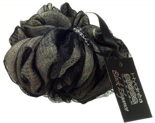 Spugna a rete esfoliante color nero e crema con presa da polso