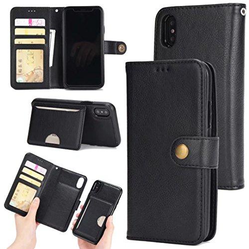 EKINHUI Case Cover 2 in 1 Abnehmbare Folio Beutel Brieftasche Stand Abdeckung Fall mit stilvolle Manetische Niet Verschluss Lanyard und Card Slots für iPhone X ( Color : Brown ) Black