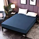 RUIMENGMENG Extra Tiefe King Size Spannbetttuch nur Bettlaken Keine Kissenbezüge Mikrofaser Widerstand Bettdecke blau voll (137 * 190cm)