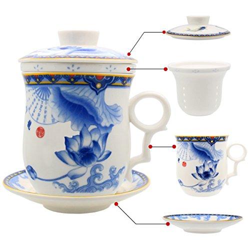 Hollihi Porzellan Teetasse mit Deckel und Untersetzer und Innensieb - Chinesische Jingdezhen-Keramik-Kaffeetasse, Teetasse Teezubereitung mit losen Blättern für das Heimbüro (Chinesische Keramik-topf)