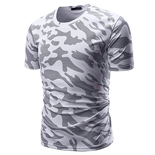 Eaylis Herren T-Shirt Tops LäSsige Kurzarm Hemden Sommer Tarnoberteil Mit Rundem Ausschnitt