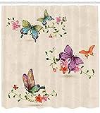 Abakuhaus Duschvorhang, Schmetterlinge in Vielen Feminine Illustration Rosa Violett Hellblau Grau, Blickdicht aus Stoff inkl. 12 Ringen Umweltfreundlich Waschbar, 175 X 200 cm