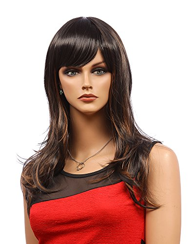 Tsnomore Fashion Black and Brown Mix Color Long Curly Women Wig