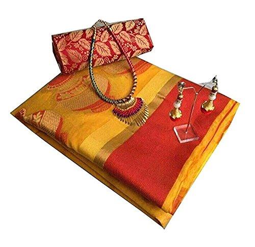 purvi fashion cotton silk Saree With Blouse Piece (Matka Yellow_Yellow_Free Size)