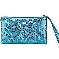 Toamen Cremallera Cero Billetera, Monedero De Mujer Monedero De Embrague Bolsas (Azul)