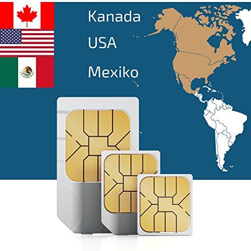 travSIM SIM Karte für Nord Amerika, USA, Kanada. Mexiko mit 500MB für 30 Tage - Prepaid Daten SIM- Standard,Micro, Nano SIM