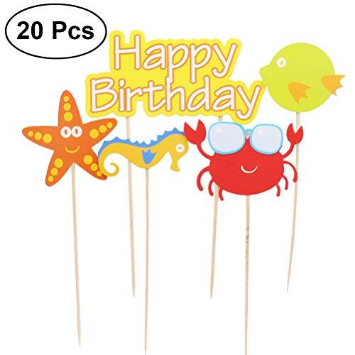 LUOEM Gute zum Geburtstag Kuchen Topper Meer Thema Cupcake Toppers für Geburtstag Baby Shower Party Gefälligkeiten einschließlich Seesterne Seepferdchen Krabben Fisch, Packung mit 20 (Kuchen Fisch Toppers)