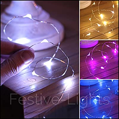 Micro Battery Fairy Lights on Silver Wire, 20 LED by Festive Lights produced by Festive Lights - quick delivery from UK.