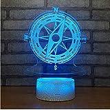 Luce Notturna 3D LED Regali Di Compleanno Bussola 3D Luce Notturna Piccola Lampada Da Letto In Acrilico. Luci Decorative Base Bianca Bella 7 Colori Cambia Lampada 3D