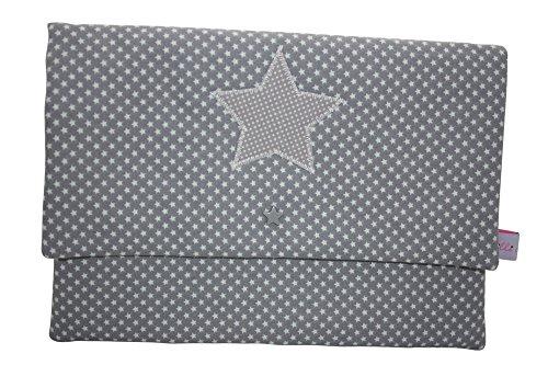 Lilli Löwenherz Wickeltasche Clutch Stars Dark Grey (Clutch Baumwolle Gefüttert,)