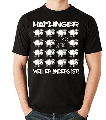 Siviwonder Unisex T-Shirt BLACK SHEEP - HAFLINGER Pferd Freizeitreiten - PFERDE Fun Schaf Schwarz