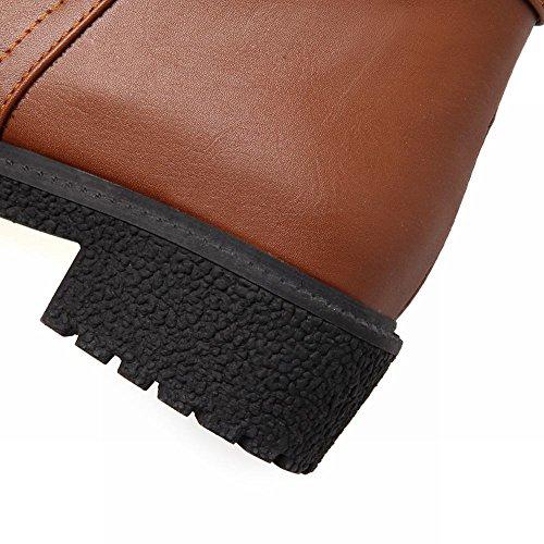 Mee Shoes Damen modern chunky heel Reißverschluss Schnalle-Dekoration Anklestiefel Braun