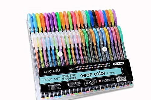 Joyoldelf 48 Gelstifte mit 1.0mm Tip Durchmesser für Kinder und Erwachsene (12 Blitz + 12 Wasser - Pen + 12 Neon + 12 metallisch )