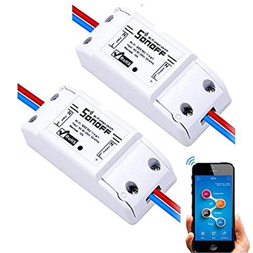Favourall Sonoff Wifi Switch Singolo Canale Wireless Remote Control elettrico per elettrodomestici, compatibile con Alexa DIY Your Home tramite Iphone Android (2 pack)