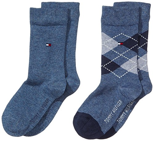 Tommy Hilfiger Jungen Socke 2 er Pack TH Kids Original Argyle, Gr. 35 (Herstellergröße: 35-38), Blau (jeans 356)