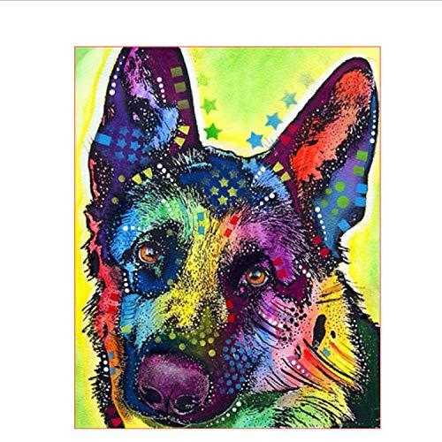 n Nach Zahlen Farbe Hund Ölgemälde Mural Kits Färbung Wandkunst Bild Geschenk Rahmenlose DIY ()