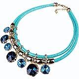Yazilind Mehrlagige Blau Crystal Choker Halskette Runde Bib Kragen Kette Schmuck Anhänger Für Frauen