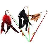 JUNGEN 3pcs Juguete de Mascota Tease de Gatos Palanca Juego Interactivo Feather Color