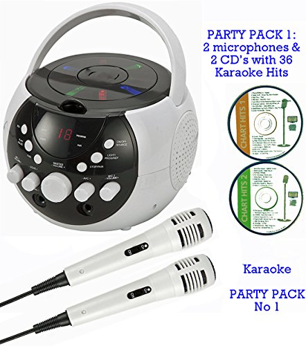BLUETOOTH Portable Karaoke Machine & CD Player - Family PARTY PACK 1 (2 Mics + 2 karaoke CD's) Home Disco Party Light Effect - Boys / Girls / Adults wired Duet karaoke microphones + 36 Karaoke SONGS (2 CD ' S) CDG + Format (Connect to a TV to display lyri