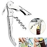 Tera® OldPAPA Kellnermesser Korkenzieher Flaschenöffner mit Doppelhebel aus Edelstahl