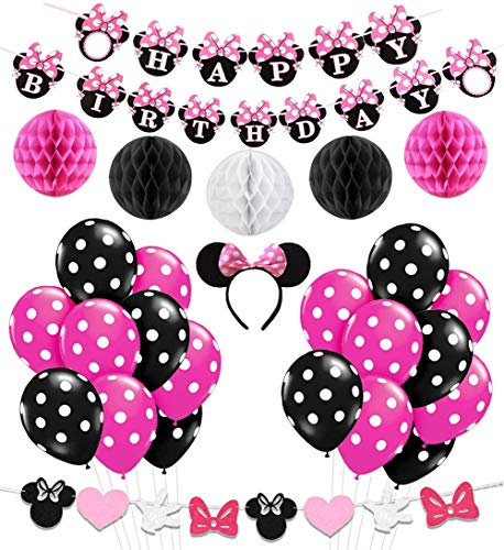 KREATWOW Minnie Mouse Girls Geburtstag Party Dekoration, Minnie Mouse Stirnband, Alles Gute zum Geburtstag Banner, Schwarze Rose Red Balloons - Minnie Dekorationen Maus-party