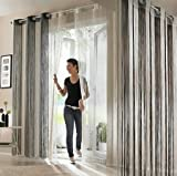 Fadenvorhang 160x145 Fliegen Vorhang Sichtschutz Türvorhang Gardine grau creme