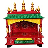 Pranjals House Beautiful Wooden Temple/Pooja Mandir for Office & Home for Size - (L- 15 X W- 8 X H-18) (Red, Yellow & Green)