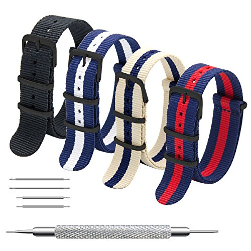 MEGALITH Uhrenarmband Packung mit 4 NATO Strap 16mm 18mm 20mm 22mm 24mm Ballistic Nylon Uhr Armband Zulu Uhrband mit Schwarz Edelstahl Schnalle