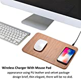 Smallsci wireless caricabatterie mouse pad Superthin caricabatterie veloce per iPhone 8Plus/8x/Samsung S7/S8/Note 8, Brown, 30*22*7cm