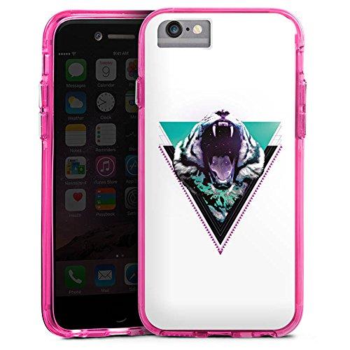 Apple iPhone X Bumper Hülle Bumper Case Glitzer Hülle Schneetiger Dreieck Triangle Bumper Case transparent pink