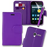 Connect Zone® PU Leather Flip Wallet Case Cover Pouch Alcatel Pixi 3 (3.5) With Screen Protector, Polishing Cloth and Stylus - Purple + Tall Stylus