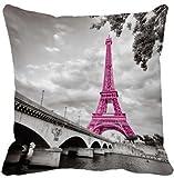 Jinhui UniqueType Retro Pink France Paris Eiffel Tower Print Home Decorative Throw Pillowcase Zippered Square