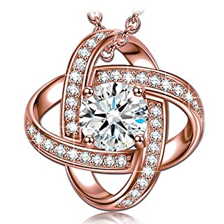 Alex Perry Women Necklace Pendant Satellite Collection Rose Gold Plated Cubic Zirconia Christmas Gifts Jewellery for Birthday Anniversary Valentine's Day Mother Wife Daughter Girl Her