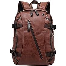 Mochila de piel para caballero, para ordenador portátil marrón marrón