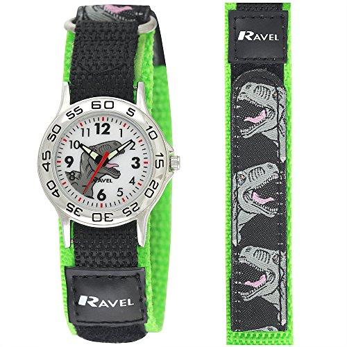 56a67ec109533 Ravel Boy s Dinosaur Black Green Adjustable Strap Watch R1507.59
