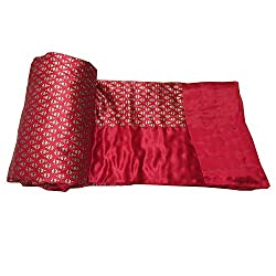 Avighna Jaipuri Light weight SILK Traditional Rajasthani Mugal Jaal Gold Print Red Color DOUBLE BED Quilt /Rajai 90 X105 Inch Approx