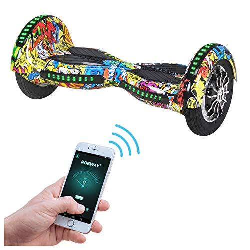 Robway W3 Hoverboard - Das Original - Samsung Marken Akku - Self Balance - 22 Farben - Bluetooth - 2 x 400 Watt Motor - 10 Zoll Luftreifen (Blau Graffiti)