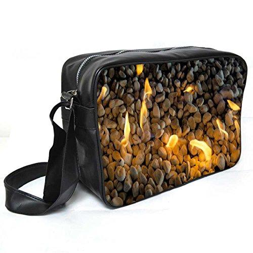 Snoogg Fire Pebble Leder Unisex Messenger Bag für College Schule täglichen Gebrauch Tasche Material PU (Pebble Leder-umhängetasche)